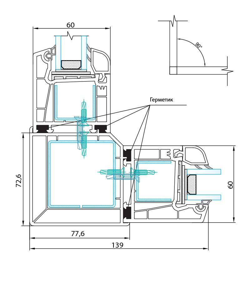 Система з монтажною шириною 60 мм.